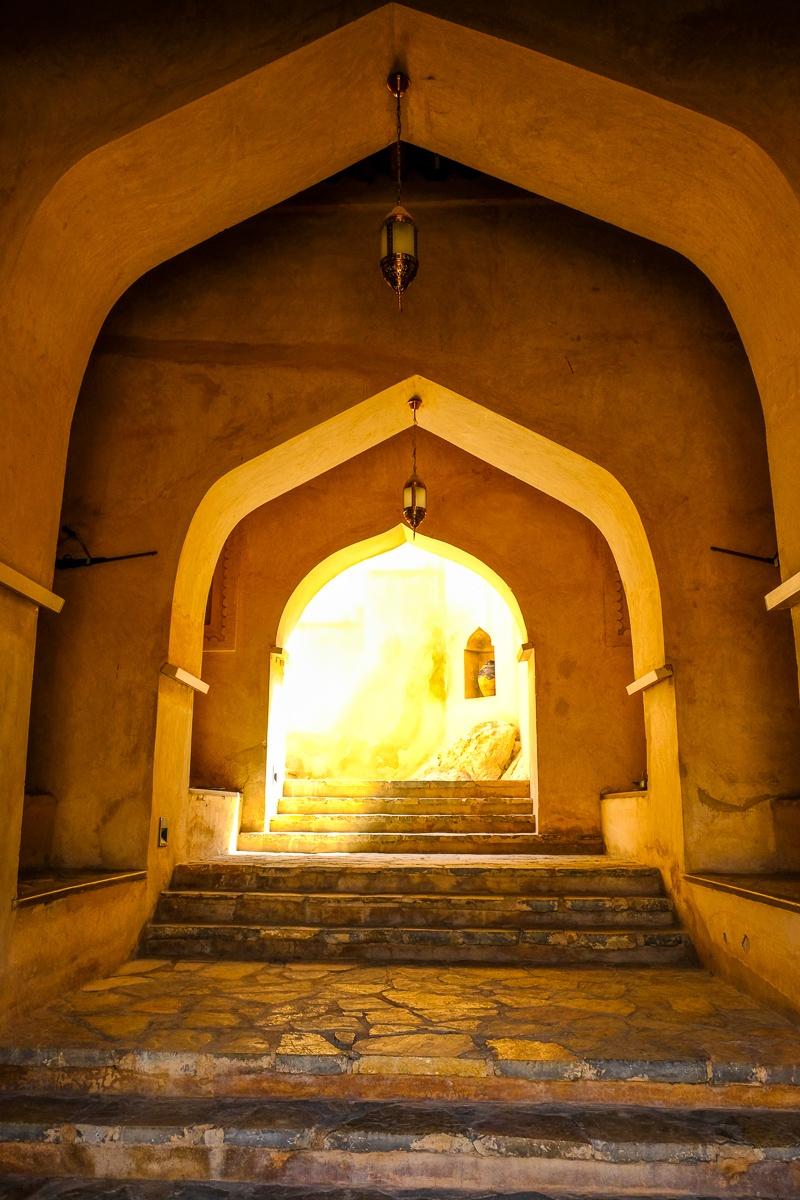Castle doorway inside of Nakhal Fort in Oman