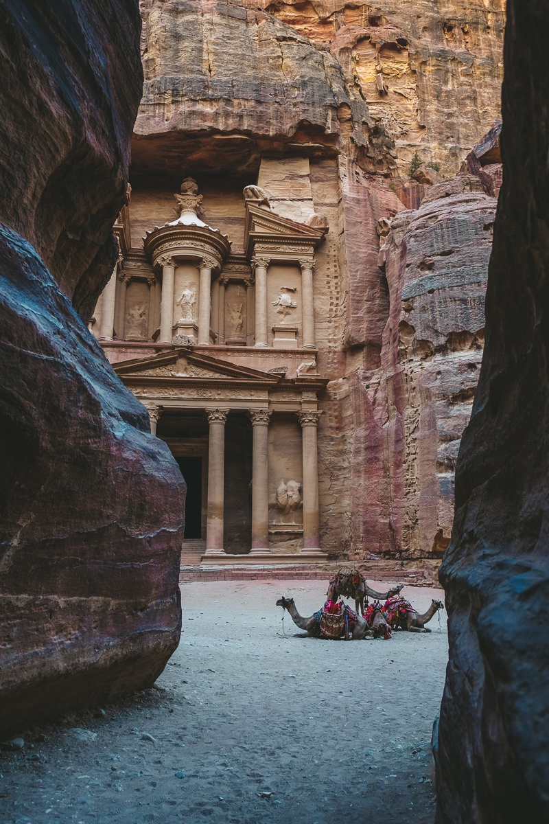 View of the Treasury of Petra, Jordan when you first walk through the Siq passageway