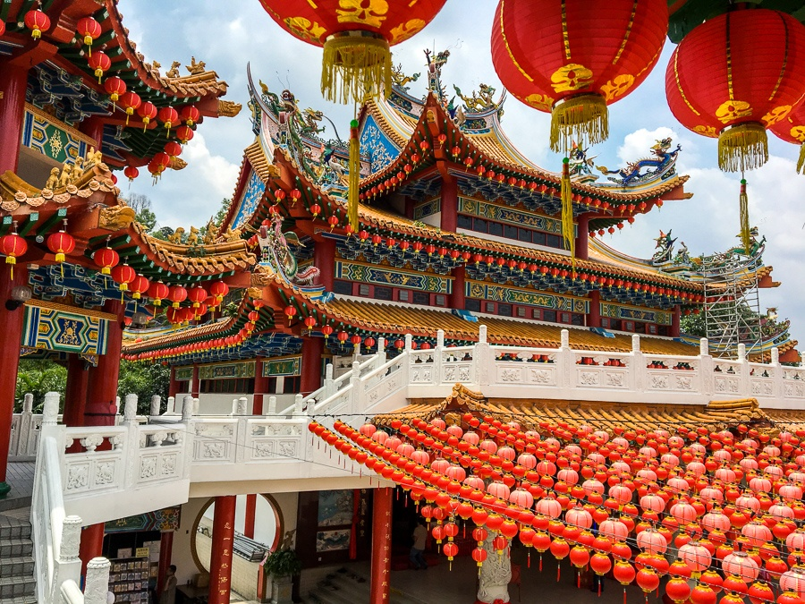 Main building and paper lanterns at Thean Hou Temple in Kuala Lumpur, Malaysia