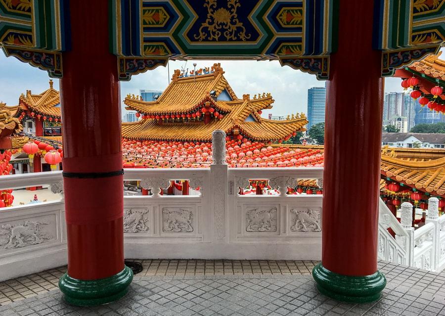 Window and balconies at Thean Hou Temple in Kuala Lumpur, Malaysia