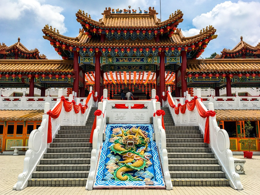 Front steps of Thean Hou Temple in Kuala Lumpur, Malaysia