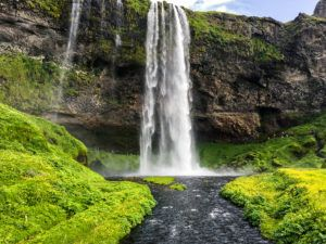 Stream and Seljalandsfoss Waterfall in Iceland