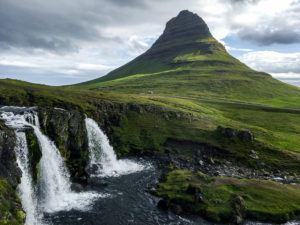 Kirkjufellsfoss Waterfall and mountain in Snaefellsnes, Iceland