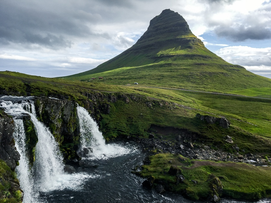 Kirkjufellsfoss Waterfall and mountain in Iceland