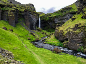 Kvernufoss Waterfall canyon and river in Iceland