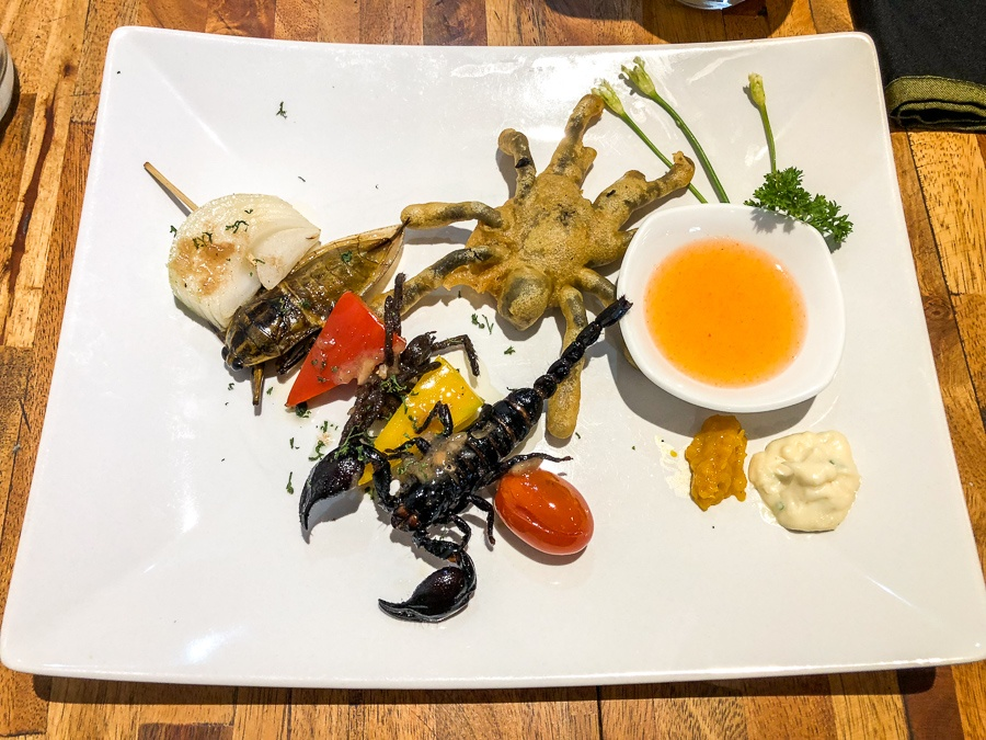 Cooked tarantula and scorpion on a plate at the Bugs Cafe in Siem Reap, Cambodia