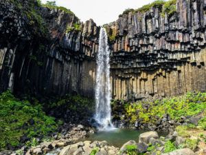 Svartifoss Waterfall and basalt rock columns in Iceland