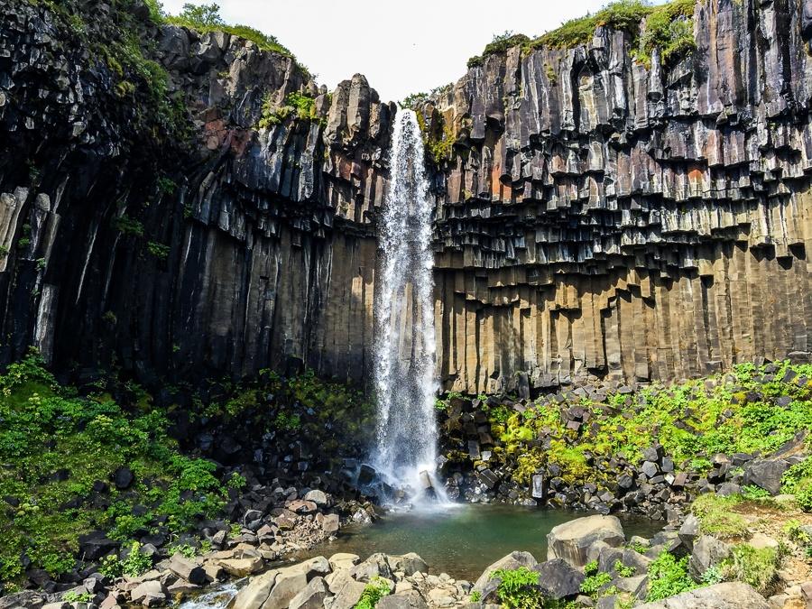 Svartifoss Waterfall and basalt rocks in Iceland
