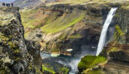 Haifoss Waterfall and cliffs in Iceland