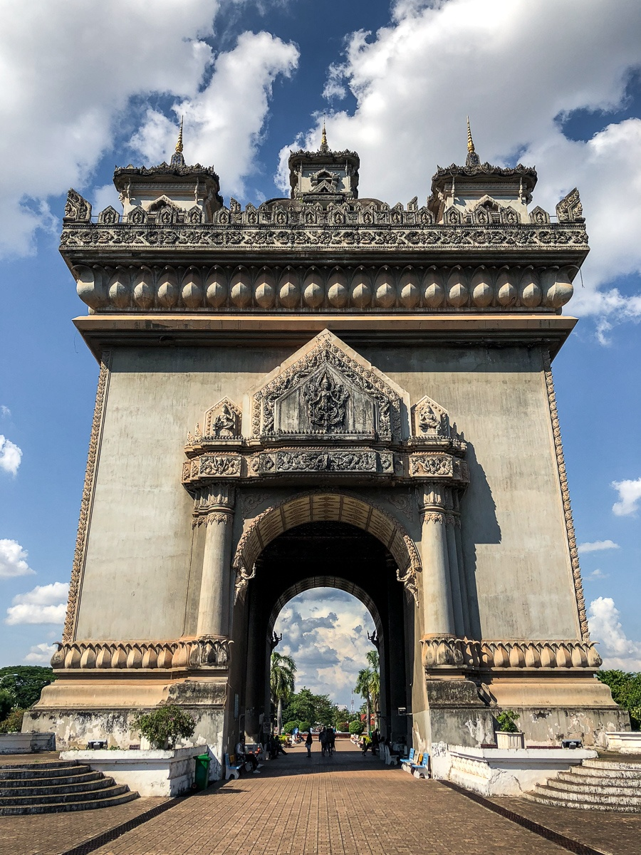Looking up at the Patuxai Victory Monument in Vientiane, Laos