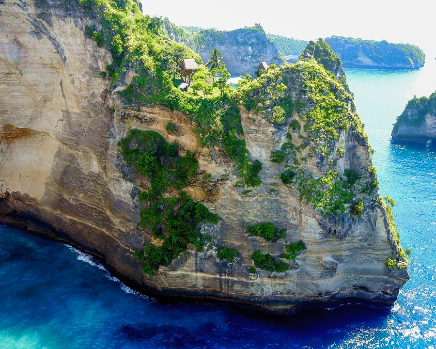 Drone view of the Nusa Penida treehouse in Bali