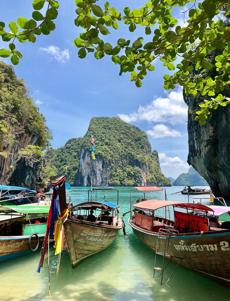 Boats at Koh Lading island in Krabi, Thailand