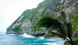 Pererenan cliff viewed from below in Nusa Penida, Bali