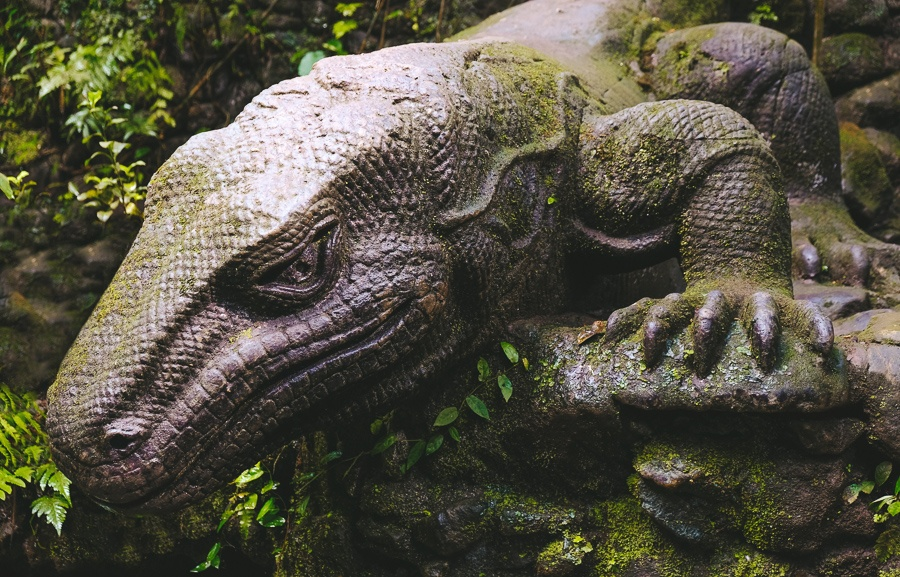 Komodo dragon statue at the Ubud Monkey Forest in Bali
