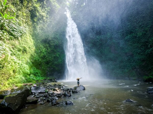 My woman at Nungnung Waterfall in Bali