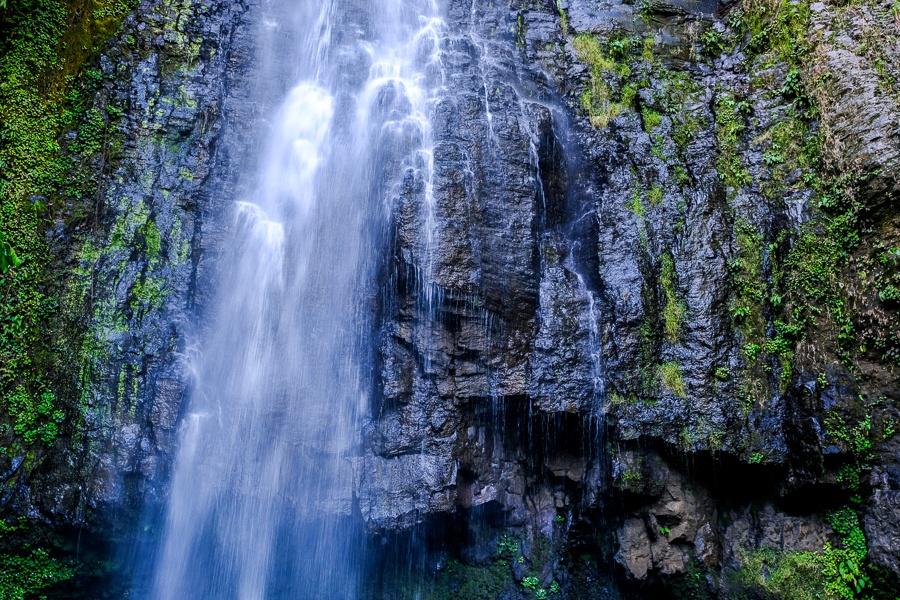 Water flowing down the rocks at Tunan Waterfall in Sulawesi