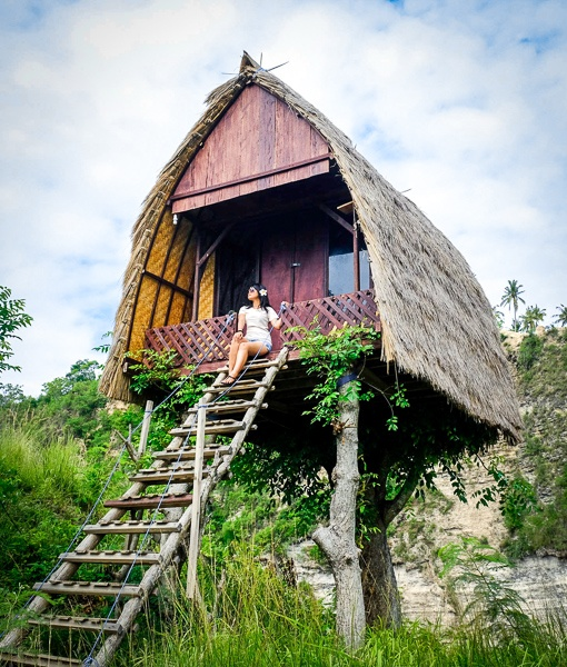My woman at the new treehouse in Nusa Penida Bali