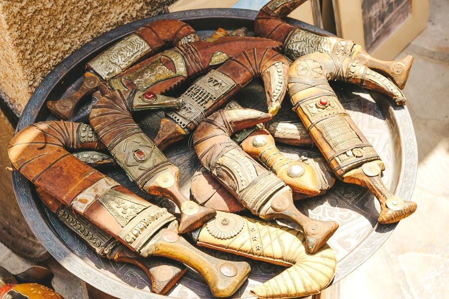 Traditional Arabic daggers for sale at the Al Fahidi market in Dubai, UAE