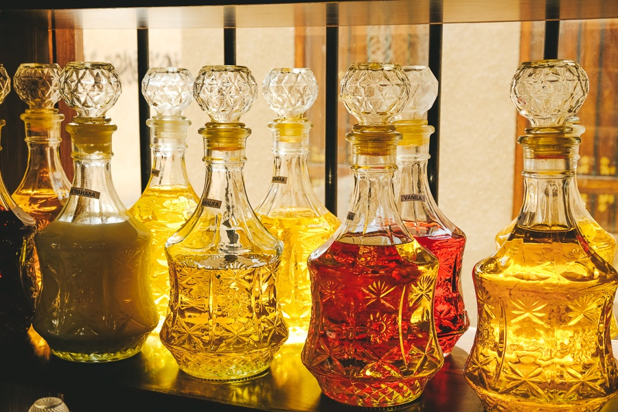 Perfume bottles for sale at a market in Dubai, UAE