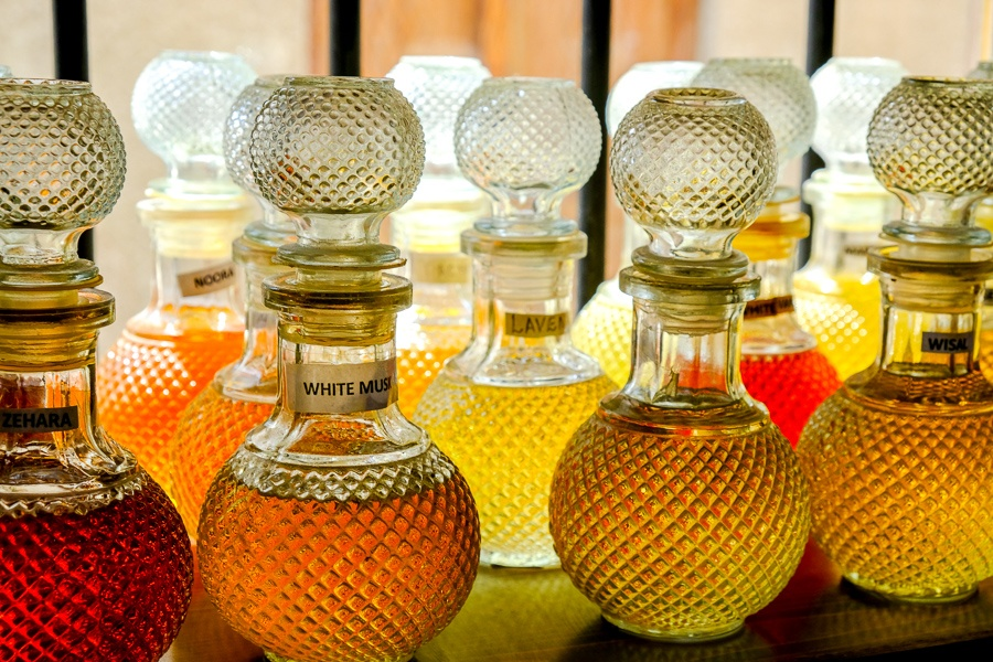 Perfume bottles for sale at a shop in Dubai, UAE