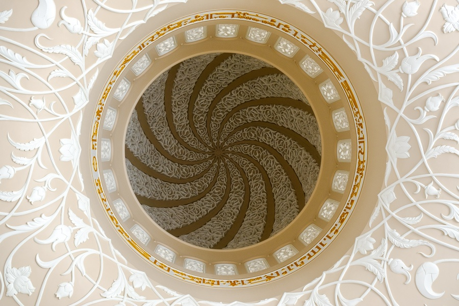 Small dome ceiling in the Sheikh Zayed Grand Mosque in Abu Dhabi, UAE
