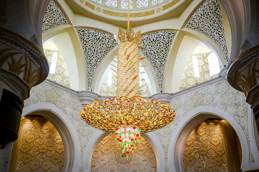 Biggest chandelier in the Sheikh Zayed Grand Mosque in Abu Dhabi, UAE