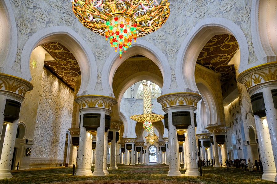 Giant chandeliers inside the Sheikh Zayed Grand Mosque in Abu Dhabi, UAE