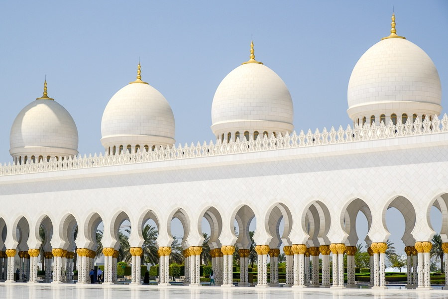 Domes and columns at the Sheikh Zayed Grand Mosque in Abu Dhabi, UAE