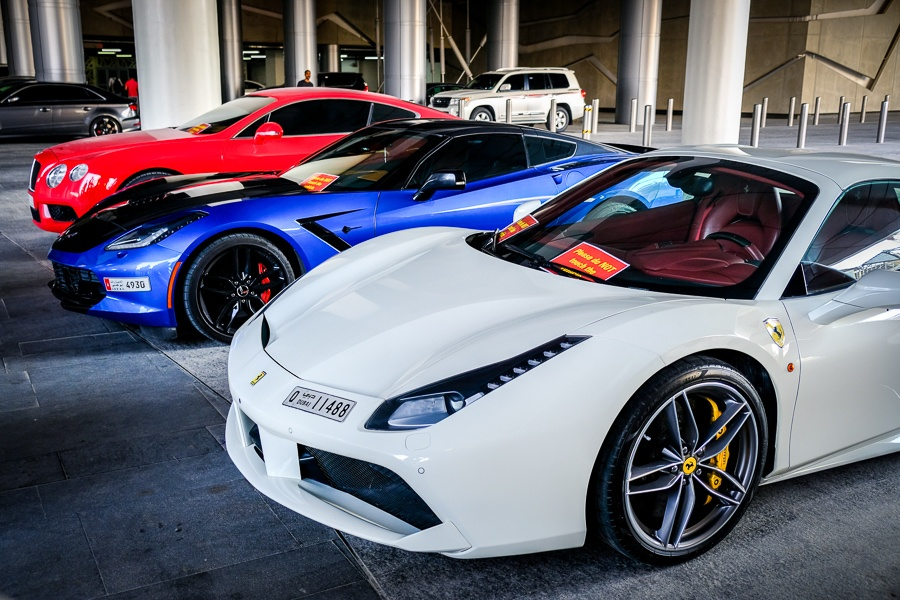 Expensive luxury sports cars on display at Ferrari World in Abu Dhabi, UAE