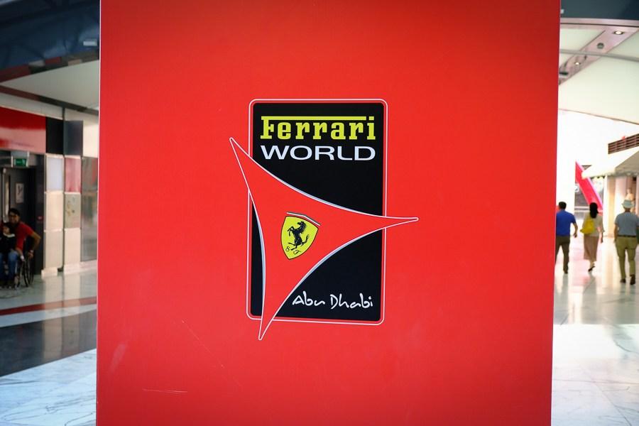 Ferrari World sign in Abu Dhabi, UAE