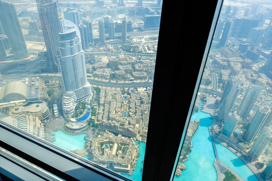 View from the 124th top floor of the Burj Khalifa skyscraper in Dubai, UAE