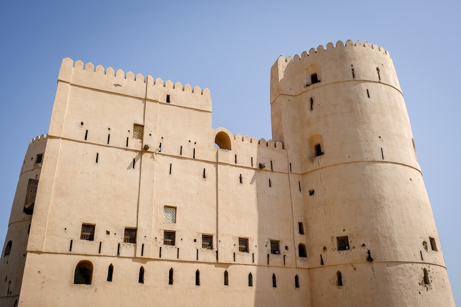 Fort walls and windows at An Naman Castle in Oman