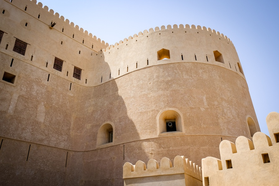 Wall and windows at Al Hazm Castle in Oman