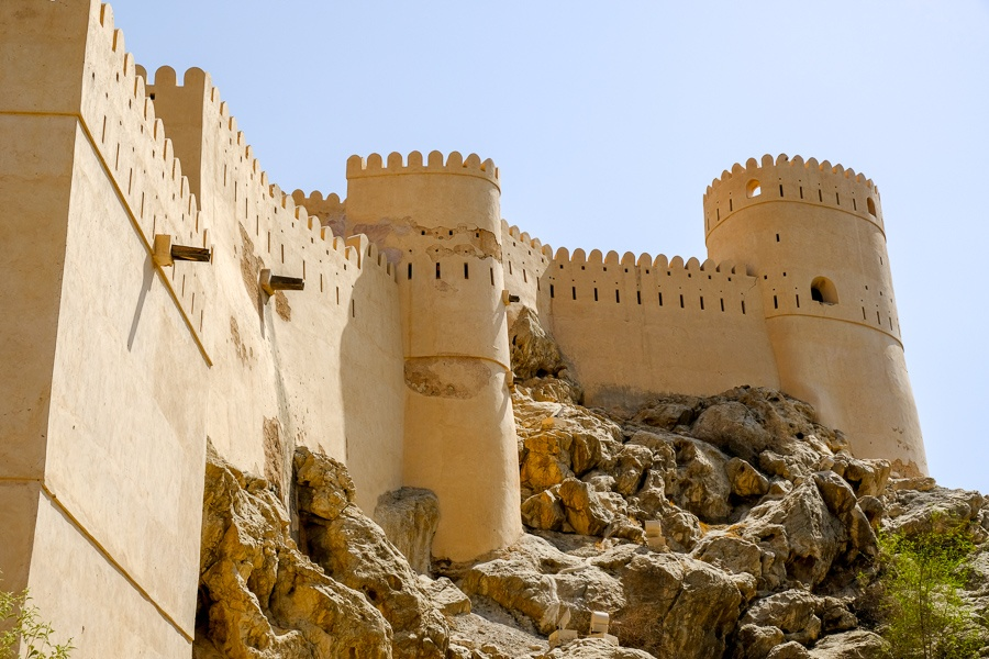 Castle wall and rocks at Nakhal Fort in Oman