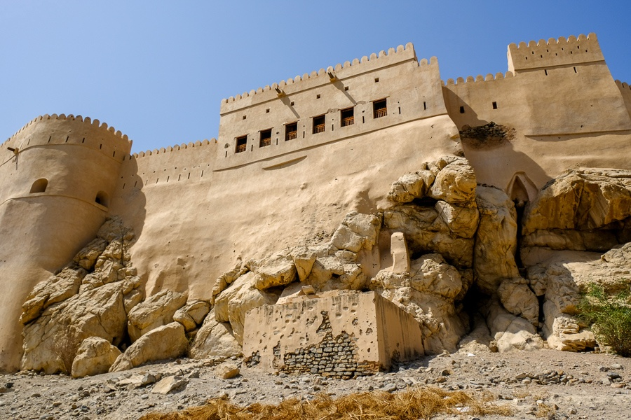 Castle wall and windows at Nakhal Fort in Oman