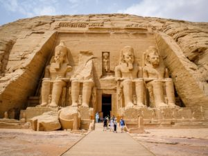 Tourists at Abu Simbel Temple in Egypt