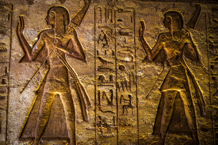 Hieroglyphs at Abu Simbel Temple in Egypt