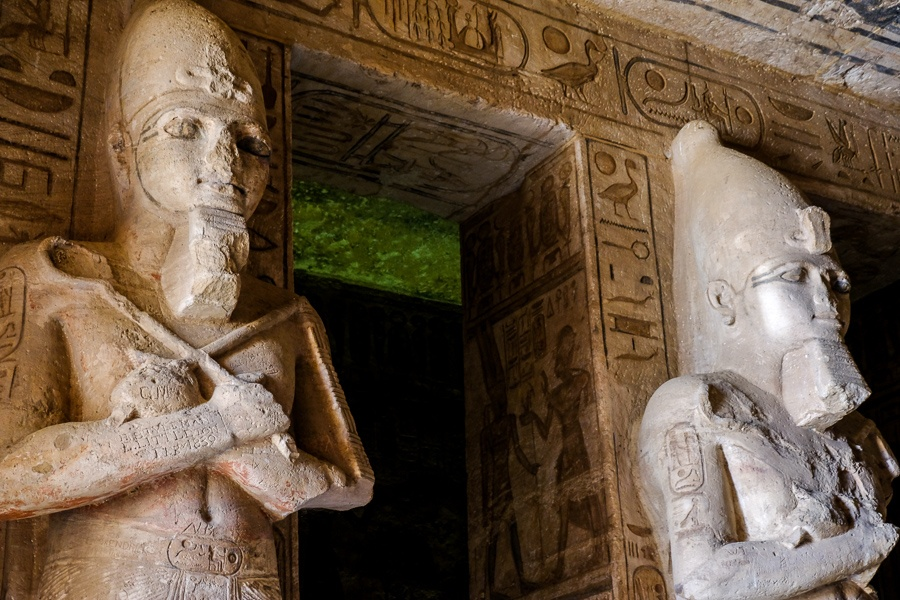 Statues inside the tomb of Abu Simbel Temple in Egypt