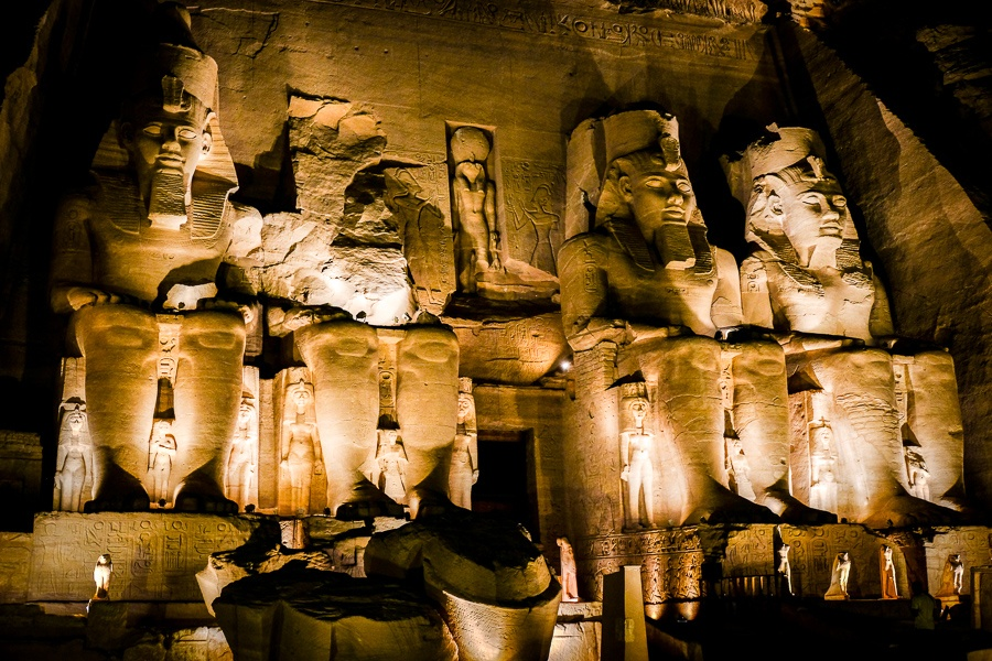Abu Simbel Temple lit up at night in Egypt