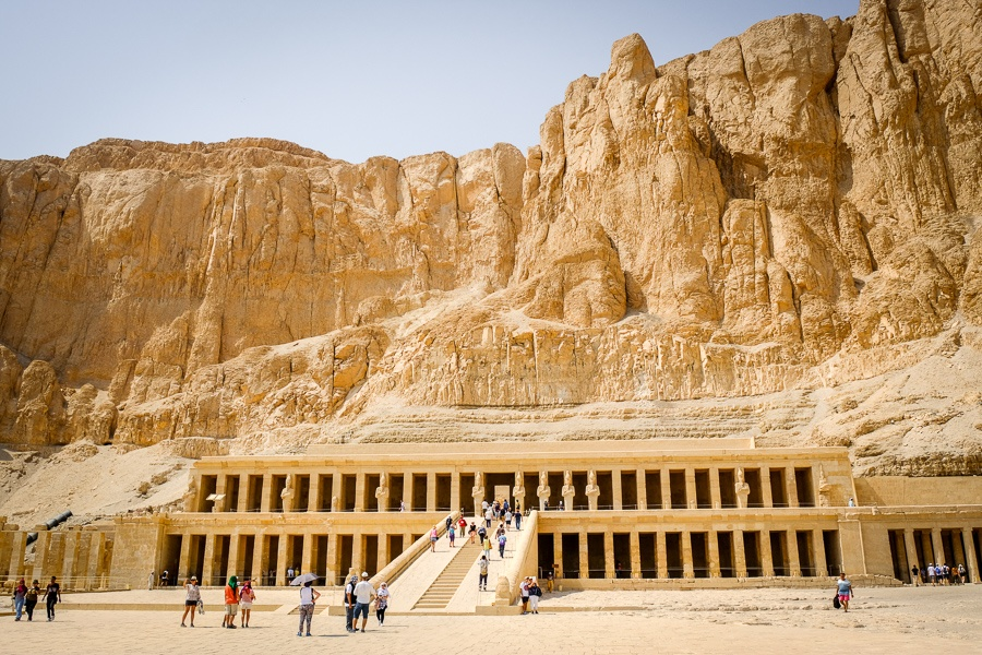 Tourists at the Temple of Hatshepsut in Luxor, Egypt