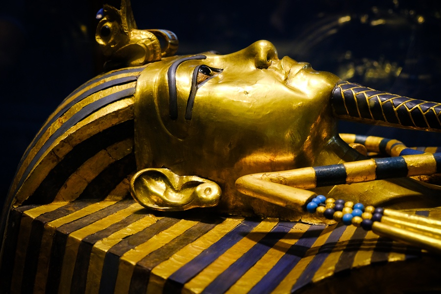 King Tut's gold mask on display at the Egyptian Museum in Cairo, Egypt