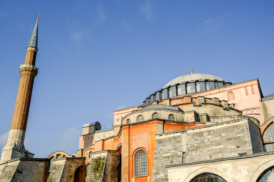 Outside view of the Hagia Sophia in Istanbul