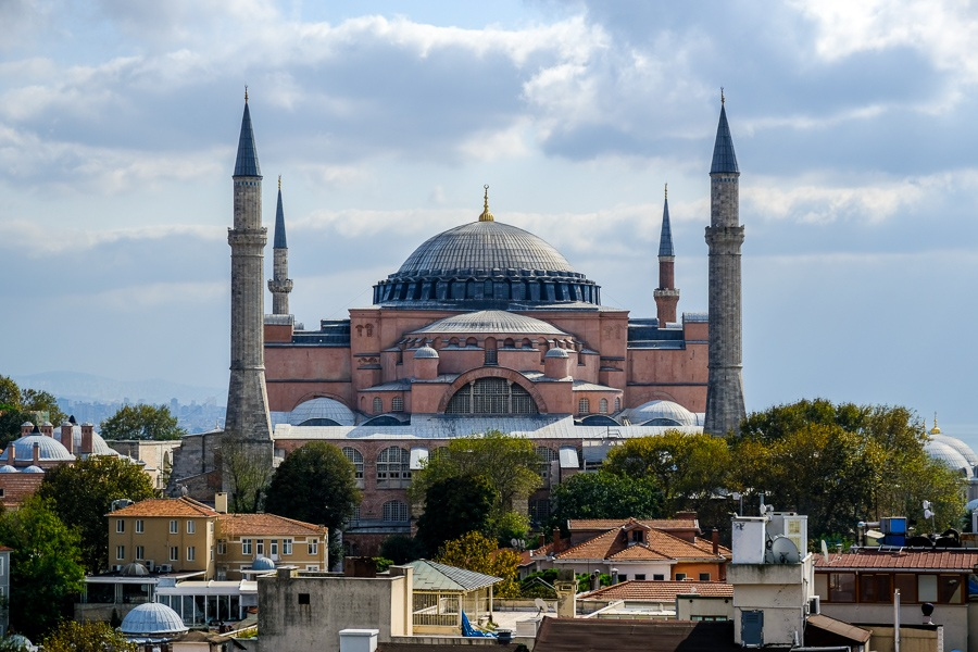 Distant rooftop view of the Hagia Sophia in Istanbul