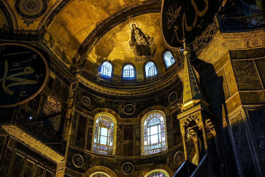 Inside domed ceiling of the Hagia Sophia in Istanbul