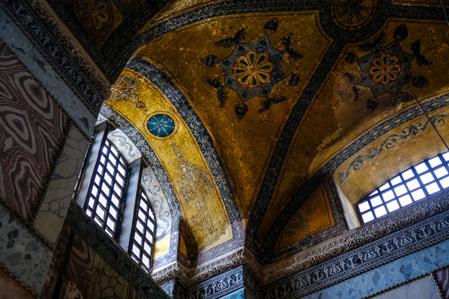 Small inside ceiling of the Hagia Sophia in Istanbul
