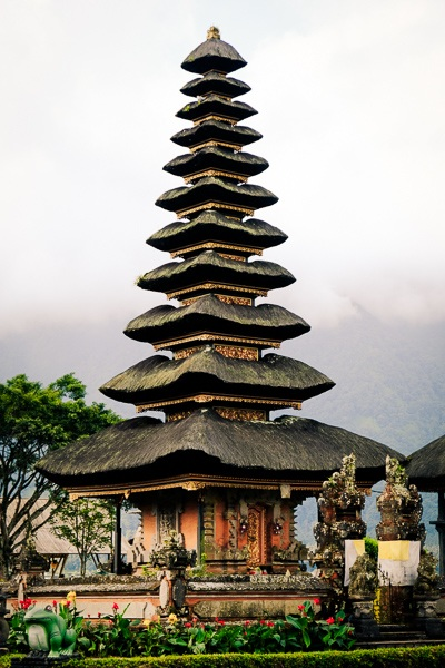 Pagoda roofs of the temple at Pura Ulun Danu Beratan in Bedugul, Bali