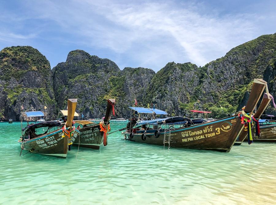 Boats at Phi Phi Leh island in Krabi, Thailand