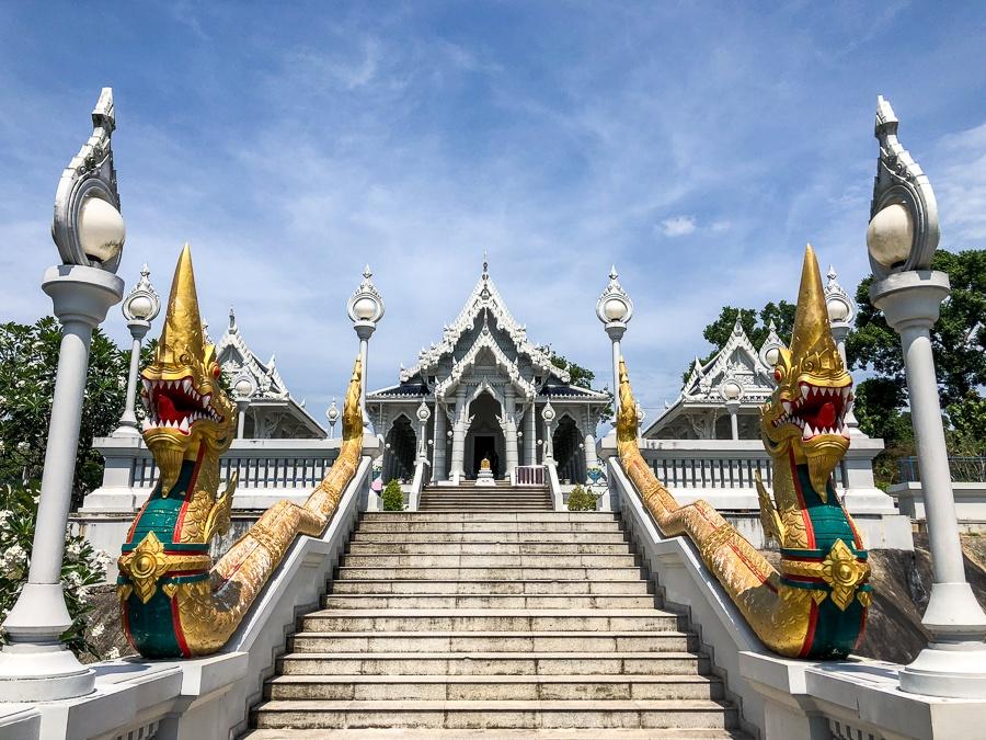 Wat Kaew Temple stairway entrance in Krabi, Thailand