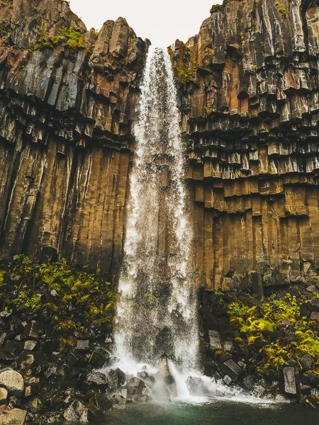 Svartifoss Waterfall and basalt rock columns in Iceland
