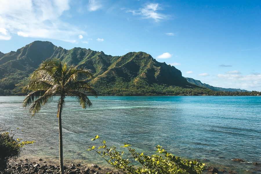 Kahana Bay Beach Park in Oahu, Hawaii